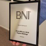 Bernt Karlsson Pris för Årets nätverkare 2018 BNI